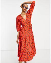 Glamorous Robe rétro mi-longue à fleurs - Rouge