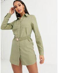 Missguided – Salbeigrünes Hemdkleid mit Gürtel