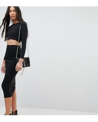 ASOS - Asos Design Tall High Waisted Longerline Pencil Skirt - Lyst