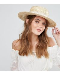 South Beach - Straw Boater Hat With Crochet Band - Lyst