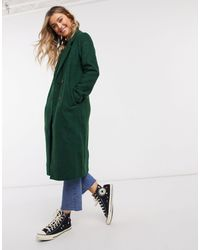 Monki Lou Boucle Wool Double Breasted Coat - Green