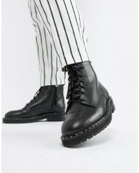 Office - Attention Eyelet Chunky Black Leather Boots - Lyst