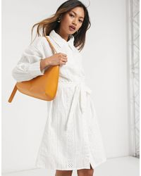 Native Youth Broderie Shirt Dress - White