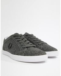 Fred Perry - Baseline Bonded Marl Trainers In Grey - Lyst