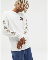 Tommy Hilfiger - 6.0 Limited Capsule Long Sleeve Top With Back And Sleeve Crest Logo In White - Lyst