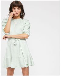 & Other Stories Belted Puff Sleeve Mini Dress - Green