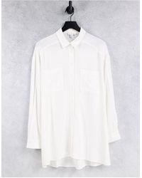 TOPSHOP Tie Front Linen Oversized Shirt - White