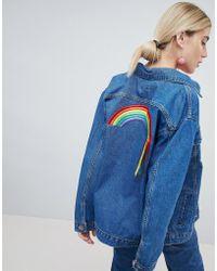 Chorus Oversized Denim Jacket With Rainbows Ribbons Back - Blue