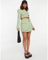 Bershka Tailored Mini Skirt Co-ord - Green