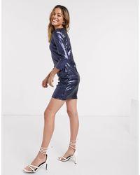 Glamorous Sequin Bodycon Dress - Blue