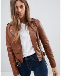 Barneys Originals - Leather Biker Jacket With Diagonal Zip Detail - Lyst