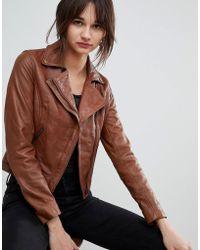 Barneys Originals Leather Biker Jacket With Diagonal Zip Detail - Brown