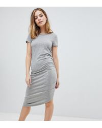 Noisy May Petite - Asymetric Ruched Jersey Midi Dress - Lyst