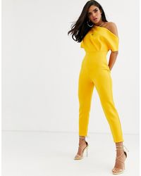 ASOS Scuba One Shoulder Jumpsuit With Tuck Detail - Yellow