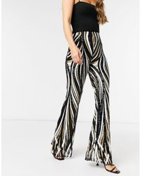 Club L London Sequin Flared Trousers - Black