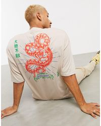 ASOS Oversized Organic Longline T-shirt With Snake Back Print In - Multicolor