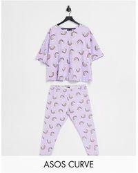 ASOS Сиреневый Пижамный Комплект Из Футболки И Леггинсов С Принтом Радуги - Пурпурный