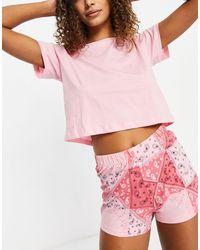 Brave Soul Short Paisley Pajama Set - Pink