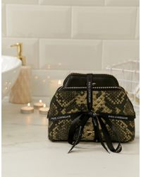 Paul Costelloe - Real Leather Metallic Moc Snake Makeup Bag And Coin Purse Gift Set - Lyst