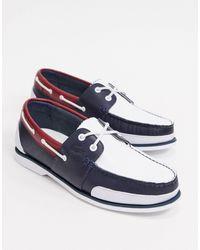 Lacoste Chaussures bateau en cuir tricolore - Blanc