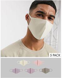 ASOS – Gesichtsmasken aus Bio-Baumwolljersey im 5er-Pack - Mehrfarbig