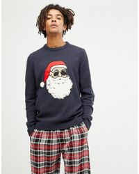 Only & Sons - Christmas Jumper With Santa Flock Design - Lyst