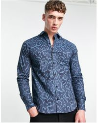 Bolongaro Trevor Kaleidoscope Skinny Fit Leopard Print Shirt - Blue