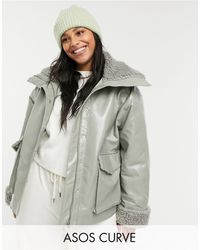 ASOS Curve Leather-look Jacket With Borg Lining - Multicolor