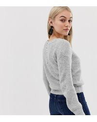 Miss Selfridge Jumper With Pearl Back Detail In Grey - Gray