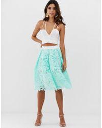 Vesper Lace Contrast Waistband Skater Skirt - Green