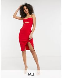 Vesper - Bodycon Mini Dress With Thigh Split And Cut Out Front - Lyst