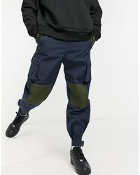 Mennace Patchwork Utility Cargo Pants - Blue