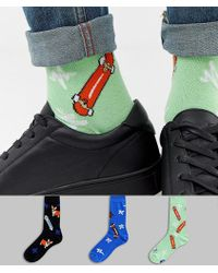 ASOS - Socks With Fun Dog Designs 3 Pack Multipack Saving - Lyst