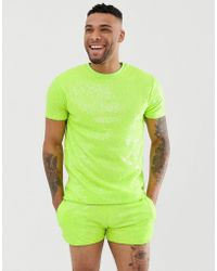 ASOS - Festival Co-ord Relaxed T-shirt In Neon Sequins - Lyst