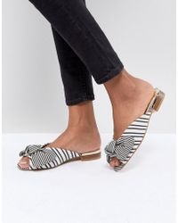 River Island - Peep Toe Bow Front Striped Sliders - Lyst