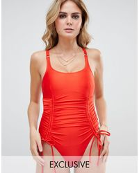 Wolf & Whistle Fuller Bust Exclusive Strung And Gathered Swimsuit