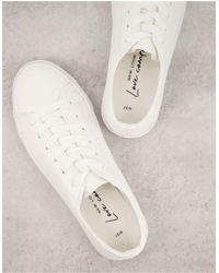 New Look Белые Кроссовки Из Искусственной Кожи На Шнуровке -белый