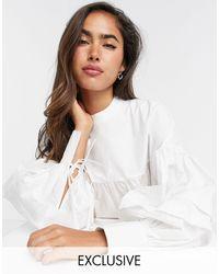 Fashion Union Свободная Блузка С Завязками На Рукавах -белый