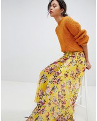 French Connection Floral Wrap Maxi Skirt - Yellow