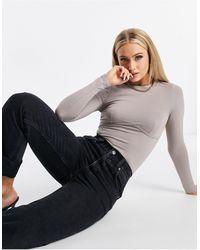 ASOS Long Sleeve Bodysuit With Underbust Seam - Grey