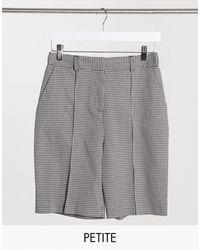 TOPSHOP Pantalones cortos a cuadros monocromáticos - Negro