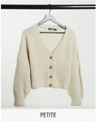 Missguided Cardigan With Balloon Sleeves - Natural