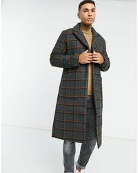 Another Influence – Lang geschnittener Mantel aus Wollmischung mit Karomuster - Schwarz