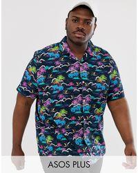 ASOS – Oversize-Hemd mit Reverskragen und Palmenmuster - Schwarz