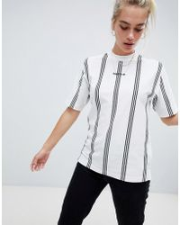 adidas Originals - Adidas Eqt High Neck Stripe T-shirt In White - Lyst