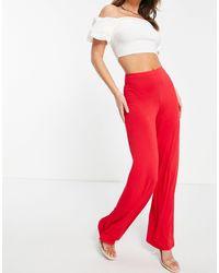 Flounce London Pantalon large basique taille haute - Rouge