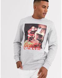 Only & Sons – es, weihnachtliches Sweatshirt mit Coca-Cola-Grafik - Grau