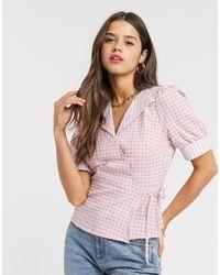 Fashion Union - Рубашка В Клеточку С Запахом -розовый - Lyst