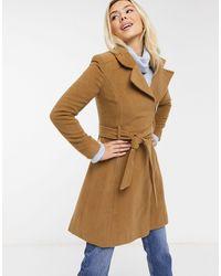 Liquorish Swing Coat With Zip Front - Brown