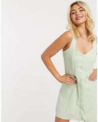 & Other Stories Vestito corto verde pastello a fiorellini con bottoni